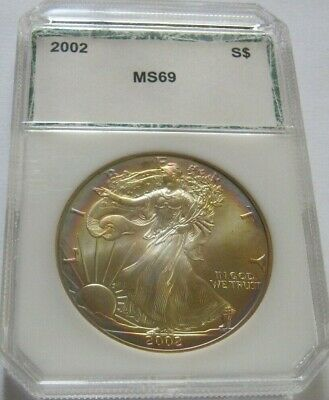 2002 PCI TONED AMERICAN SILVER EAGLE COIN ~Rainbow Target Toning on Both Sides~