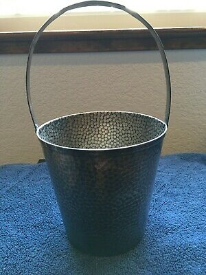 Vintage Taber  & Tibbits Inc  Silverplate Hammered Silver Ice Bucket