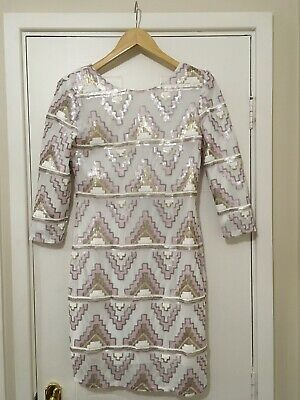 Ladies White Pink Gold Sequin Dress Size 12 Brand New With Tags