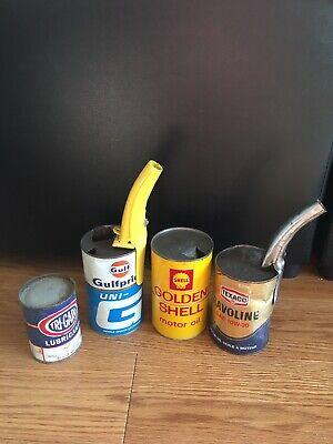 Vintage Old Oil Can Lot And Spouts (still Sealed)