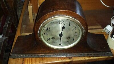 Vintage Mahogany And Inlaid Napoleon Hat Westminster Mantel Clock
