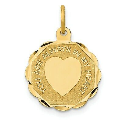 14k Yellow Gold Engrave Wedding You Are Always In My Heart Pendant (0.8INx0.6IN)