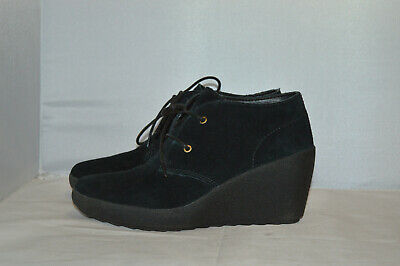 Clarks Active Air Black Suede Lace Up Wedges Comfort Heels UK Size 4 E wide fit