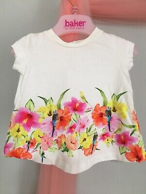 Sweet Baby Girls Designer Ted Baker White Tropical Floral Top 0-3m🎀
