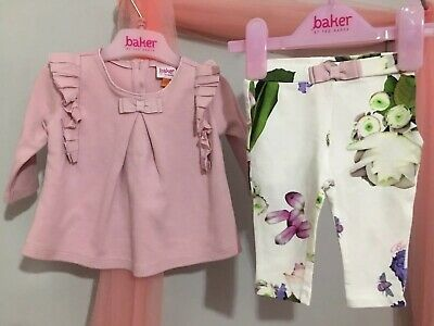 Baby Girls Designer Ted Baker Pink Frill Top & Floral Leggings Outfit 0-3m🎀