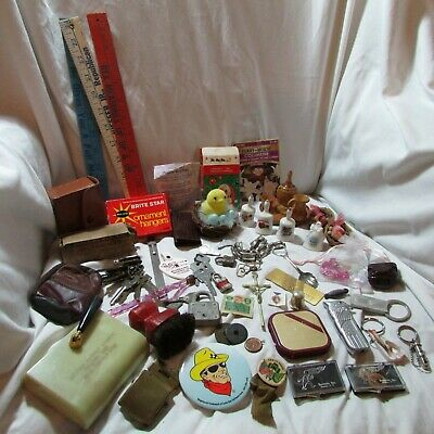 Huge Vintage Collectible 60pc. Mixed Junk Drawer Lot, Keys, Coins, Knick-knacks