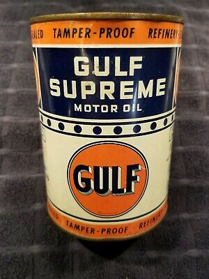 Vintage Gulf Supreme Motor Oil tin quart Rare can litho