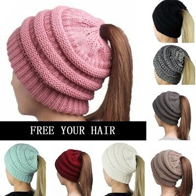 Women Beanietail Messy High Bun Ponytail Stretchy Knit Beanie Skull Hat Warm Cap