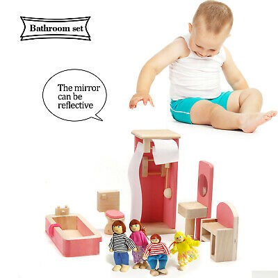 Wooden Doll House Miniature Bathroom Furniture Set Families Role Play Toys Gift