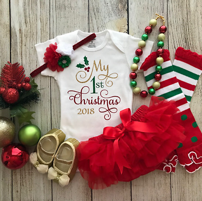 My 1st Christmas Newborn Baby Girls Clothes Romper +Lace Tutu Skirts Outfit 3PCS