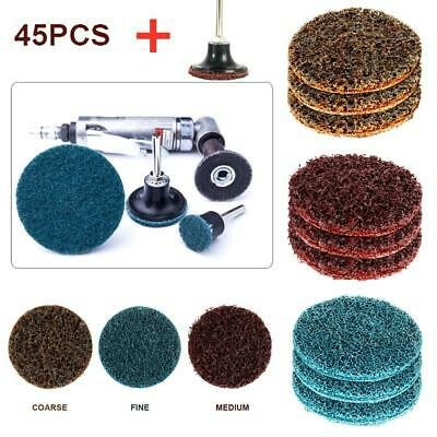 "45Pcs 2"" Grit Roloc Cleaning Conditioning Roll Lock Surface Sanding Discs Holder"
