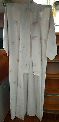 Fab Pale Grey With Floral Pattern Semi Sheer Vintage Japanese Full Length Kimono