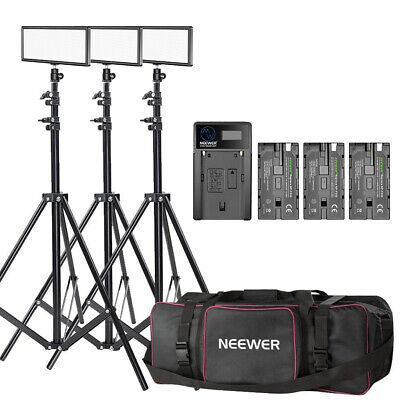 Neewer 3-pack T120 On-camera LED Video Light with Lighting Kit