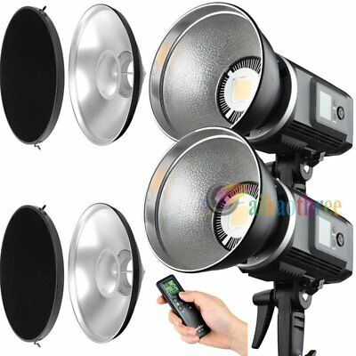 2Pcs Godox SLB-60W White Version Li-ion Battery LED Video Light + Beauty Dish