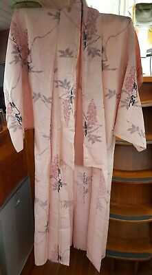 Fab Pink With Floral Patterned Lightweight Vintage Japanese Full Length Kimono