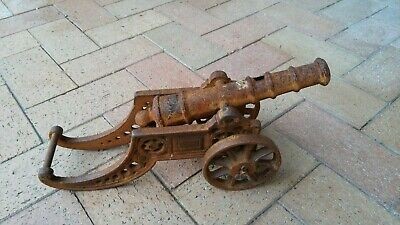 Vintage Cast Iron Cannon - Movable Barrel - Turning Wheels