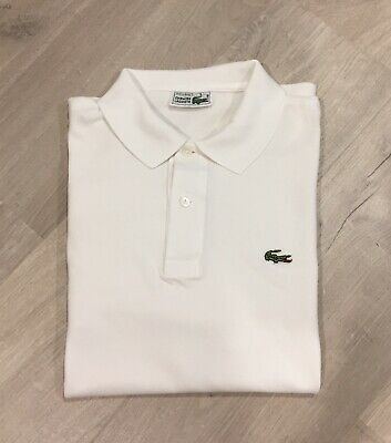 Lacoste Polo Shirt Cotton Long Sleeves White Men Size 5