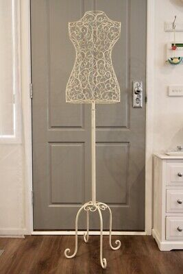 Dressmaker BUST MANNEQUIN display iron lace shabby vintage in EC!