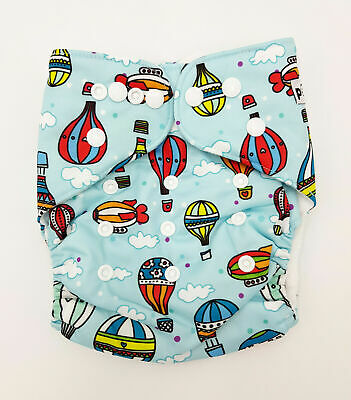 Modern Cloth Reusable Washable Baby Nappy Diaper & Insert, Hot Air Balloons