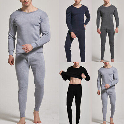 Mens 2PCS SET Merino Wool Top Pants Thermal Leggings Long Johns Underwear Pajama