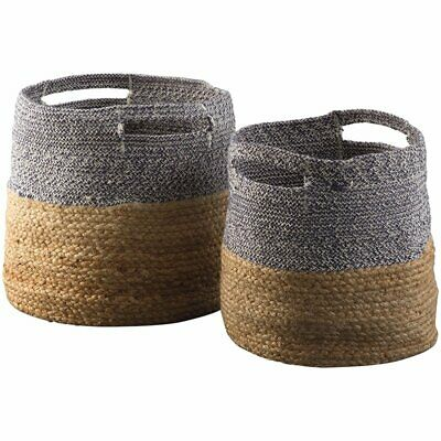 Ashley Parrish 2 Piece Basket Set in Natural and Blue