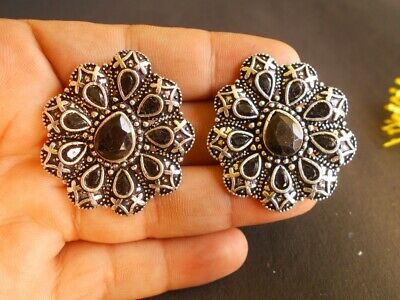 HIGH FINISH .925 Silver Oxidized Plated Antique Black Stone Tops Stud Earring