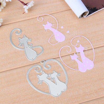 Love Cat Design Metal Cutting Dies For DIY Scrapbooking Album Paper Cards HGUK