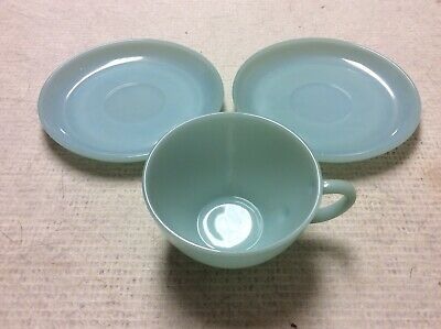2 ~ Blue Delphite Milk Glass Vintage Fire King Oven Ware Saucer Plates 1 Cup!!!