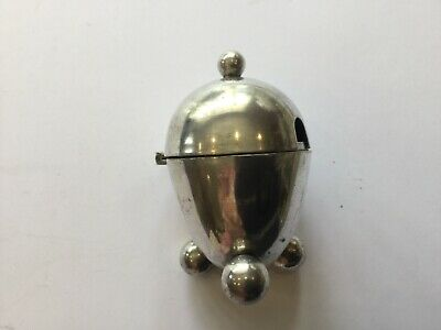 Antique Silver Plated Egg Shaped Mustard Pot With Hinged Lid