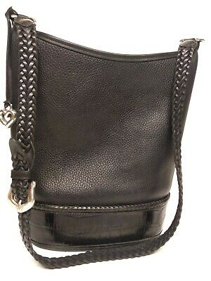 Brighton Vintage Handbag, Crossbody Bucket Tote, Peppled Croc Black Leather VGC!