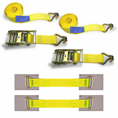 2x Wheel Ratchet Strap Transport Recovery Trailer Car Van Truck Vehicle Tie Down
