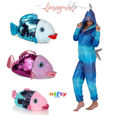 Loungeable Womens Girls 3D Novelty Fish Loungewear Kids Sequin Animal Nightwear