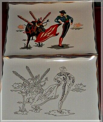 """Vintage """"Paint By Numbers"""" Bull Fight Glass Trays"""