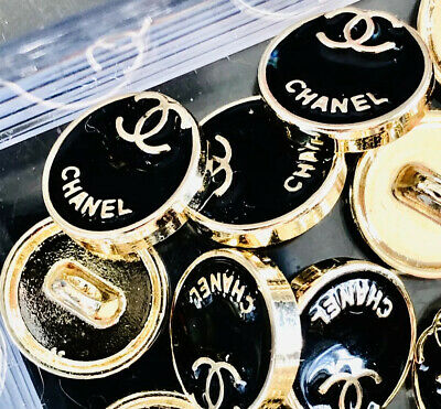 "Chanel CC Button Black Gold Small Set If 10. 10mm 0.40"" Blouse/Sweater/Earrings"