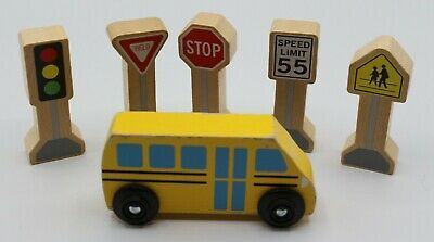 Wooden Toy Traffic Signs Street Signs Bus LOT Stop Speed Limit Yield Crossing
