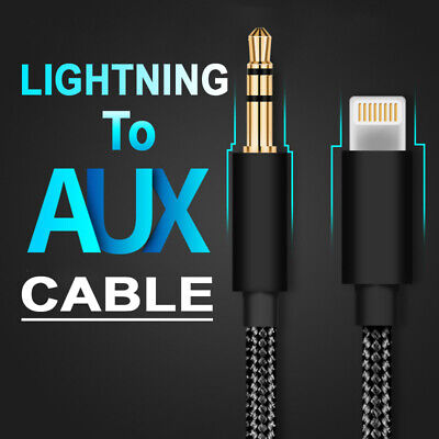 8 Pin Lightning to 3.5mm Male Jack Audio AUX Braided Cable for iPhone X 8 iOS 13