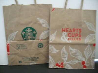 Starbucks 1 Gift Lunch Bag 2015 CHRISTMAS Hearts Cups Filled Paper EUC Holiday