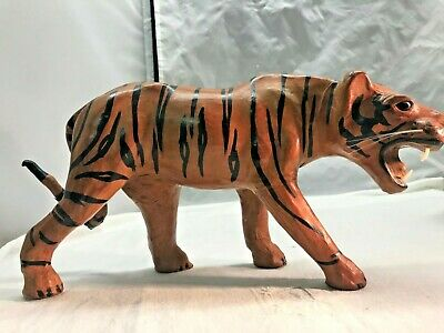 Vintage Leather Paper Mache Tiger with Glass Eyes and Whiskers
