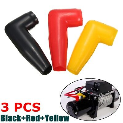3x Electric Guard Winch Motor Cable Terminal Boot Rubber Cover Black+Red+Yellow