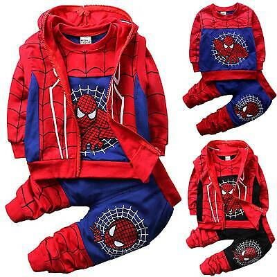 Baby Kids Boys Spiderman Tracksuit Sweatshirt+Pants+Sleeveless Hooded Jacket Set