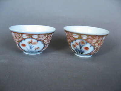 Two 18th C. Japanese Imari tea bowls, well painted and gilded.