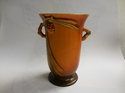 "Roseville Art Pottery Antique Pinecone Vase 838-6"" Brown"