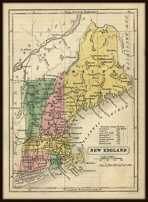 ANTIQUE AMERICAN 1852 MAP OF NEW ENGLAND - Hand-colored - G. W. BOYNTON