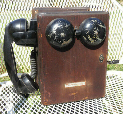 Antique Western Electric Hand Crank Wood Ringer Box 5 Bar Magneto Telephone