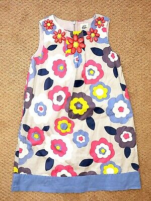 MINI BODEN Girls PINK/YELLOW Lined FLORAL Cotton DRESS sz 7-8y excellent