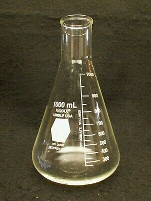 KIMAX 1000mL 1L Erlenmeyer Flask w/ Reinforced Rounded Top Kimble USA