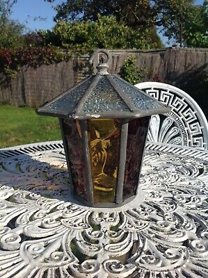 """Vintage Octagon Leaded Stain Glass Porch Outside Lamp / Lantern 9"""" High"""