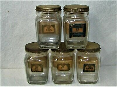 Vintage 5 ea. TASCO Auto Car Part Jars, Service Station, Rat Rod Ol' School
