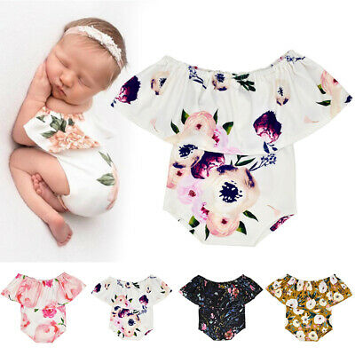 Newborn Baby Girls Ruffle One-Pieces Romper Bodysuit Jumpsuit Outfits Clothes