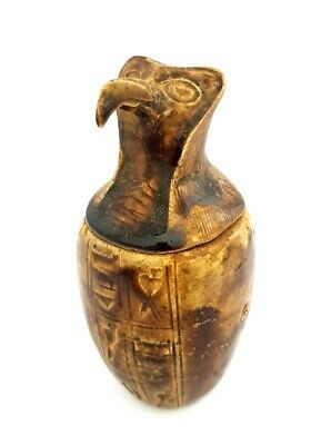 Stunning Stone Egyptian Canop Jar Horus Ra Antique Sculpture W/T Hieroglyphics